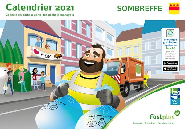 Calendrier de collecte des déchets 2021 dans l'entité de Sombreffe
